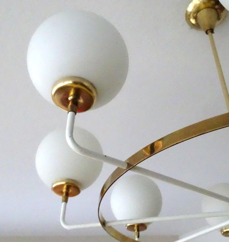 Large  Midcentury Italian Sputnik Brass Glass Chandelier, Stilnovo Gio Ponti Era For Sale 12