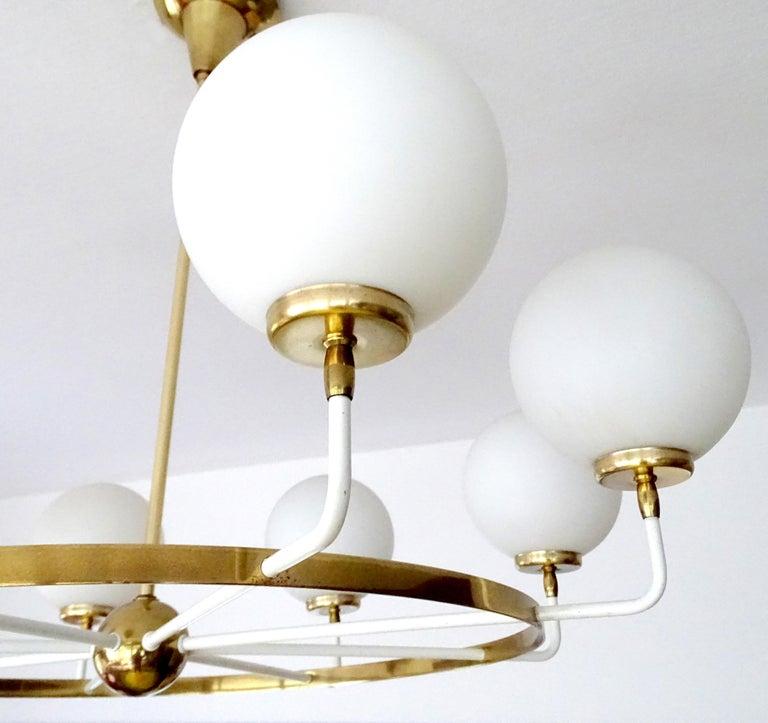 Large  Midcentury Italian Sputnik Brass Glass Chandelier, Stilnovo Gio Ponti Era For Sale 13