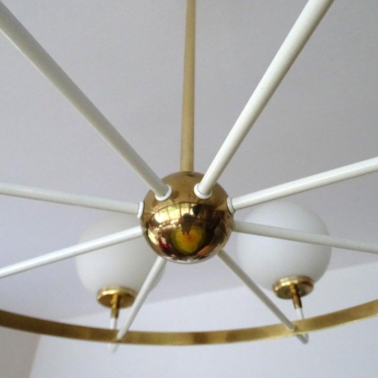 Large  Midcentury Italian Sputnik Brass Glass Chandelier, Stilnovo Gio Ponti Era For Sale 14