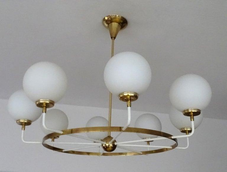 Mid-Century Modern Large  Midcentury Italian Sputnik Brass Glass Chandelier, Stilnovo Gio Ponti Era For Sale