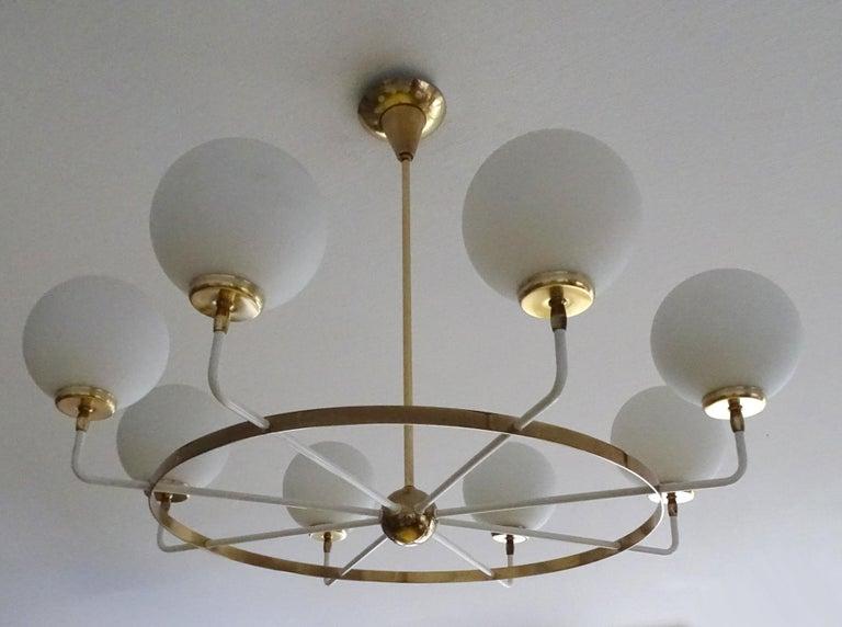 Mid-20th Century Large  Midcentury Italian Sputnik Brass Glass Chandelier, Stilnovo Gio Ponti Era For Sale