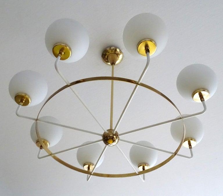 Large  Midcentury Italian Sputnik Brass Glass Chandelier, Stilnovo Gio Ponti Era For Sale 1