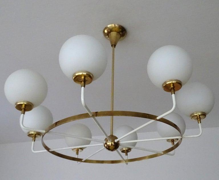 Large  Midcentury Italian Sputnik Brass Glass Chandelier, Stilnovo Gio Ponti Era For Sale 3