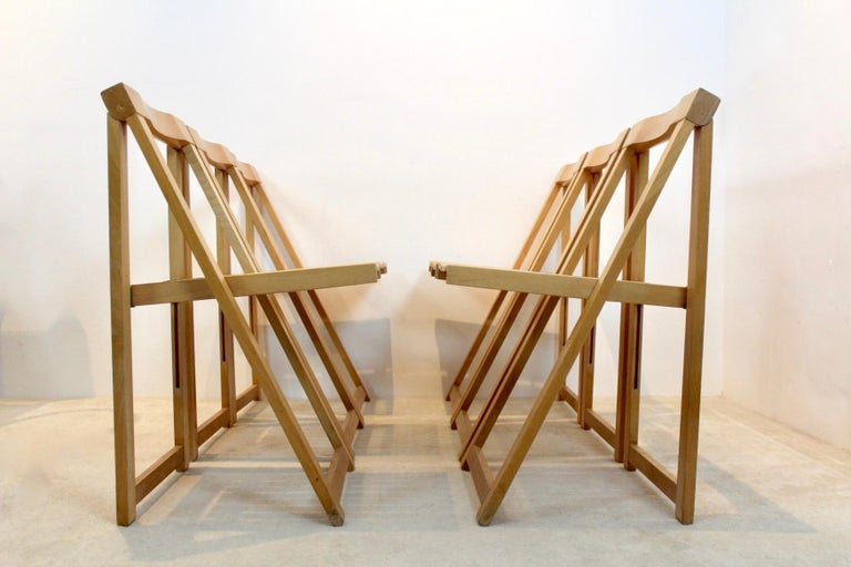 Beech Large Stock of Aldo Jacober Folding Chairs for Alberto Bazzani For Sale