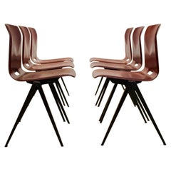 Large Stock Stackable Pagholz Galvanitas S22 Industrial Diner Chairs in Brown, 1