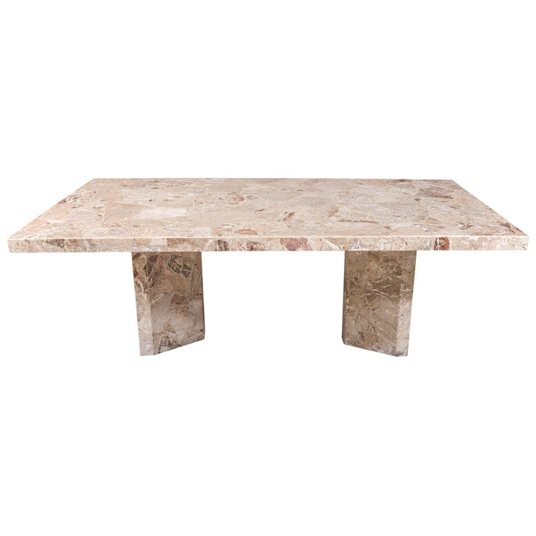 Large Stone Rectangular Dining Table For Sale