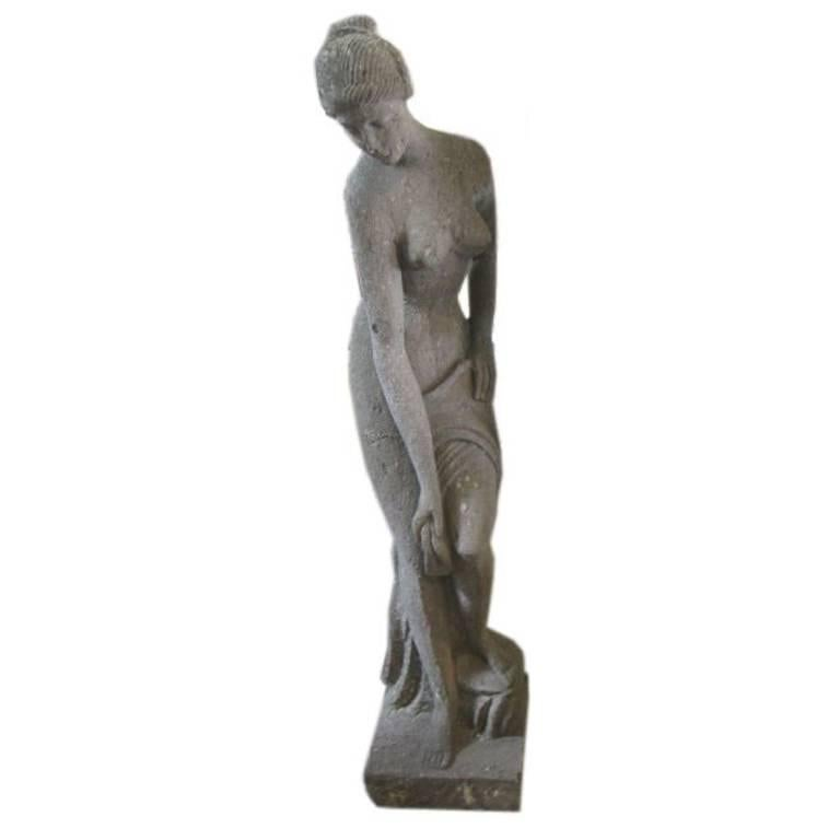 Large Stone Sculpture of Woman Bathing