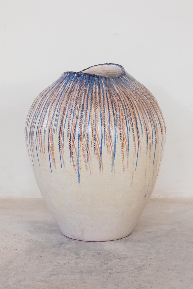 Large stoneware glazed decorative vase. Midcentury era design featuring hand drawn strips of blue colored glaze, Germany, 1960s. Perfect condition. Measures: Height 40 cm.