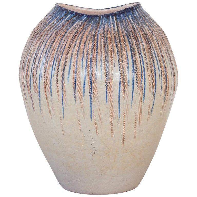 Large Stoneware Art Pottery Vase, Germany, 1960s For Sale