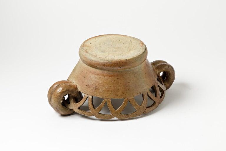 Mid-20th Century Large Stoneware Ceramic Cachepots or Jardiniere from La Borne, circa 1950 For Sale