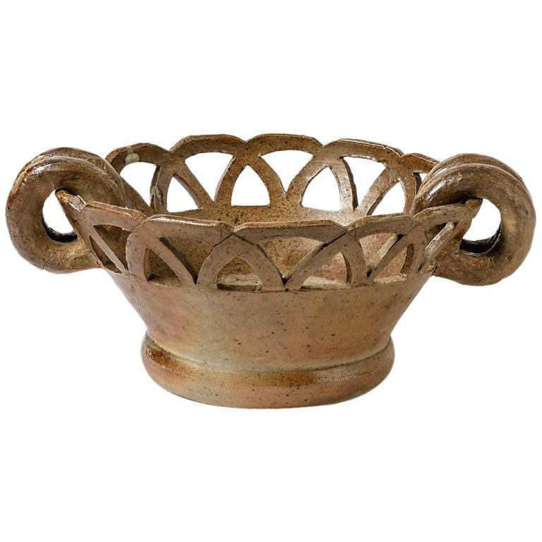 Large Stoneware Ceramic Cachepots or Jardiniere from La Borne, circa 1950 For Sale