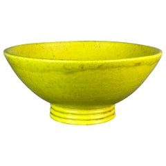 Large Stoneware Coupe Bowl in Yellow Glaze by French Potter Edmond Lachenal