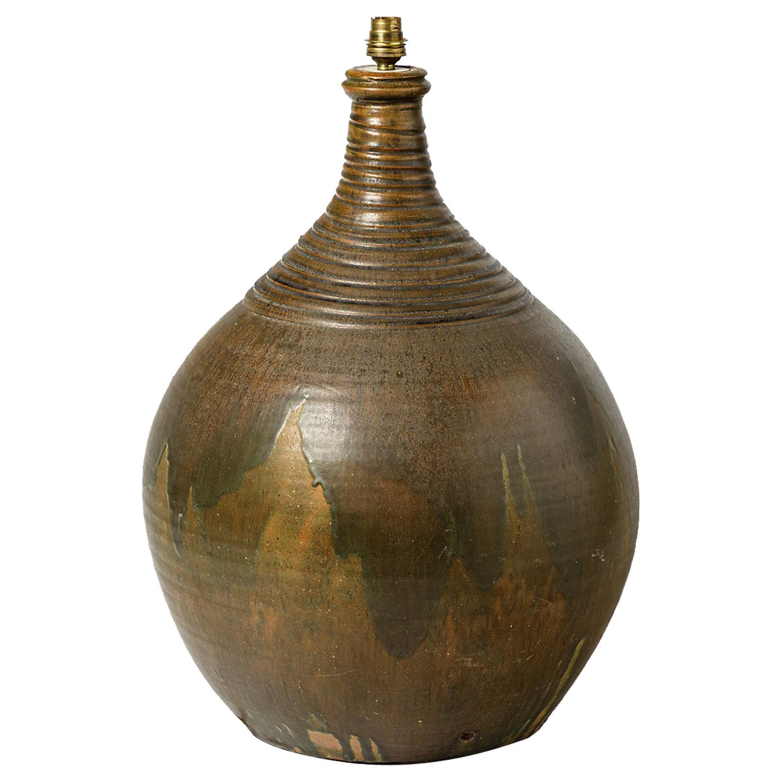 Large Stoneware Floor or Table Ceramic Lamp Brown Color circa 1950 La Borne