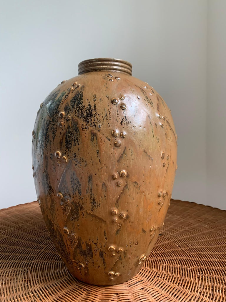 Scandinavian Modern Large Stoneware Vase by Saxbo For Sale