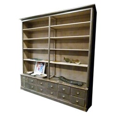 Large Store Shelf in Gray / Natural Wood