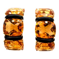 Large Striking Seaman Schepps Gold, Citrine and Onyx Earclips