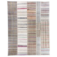 12.6x16.5 Ft - Large Vintage Cotton Anatolian Rag Kilim in Soft Colors