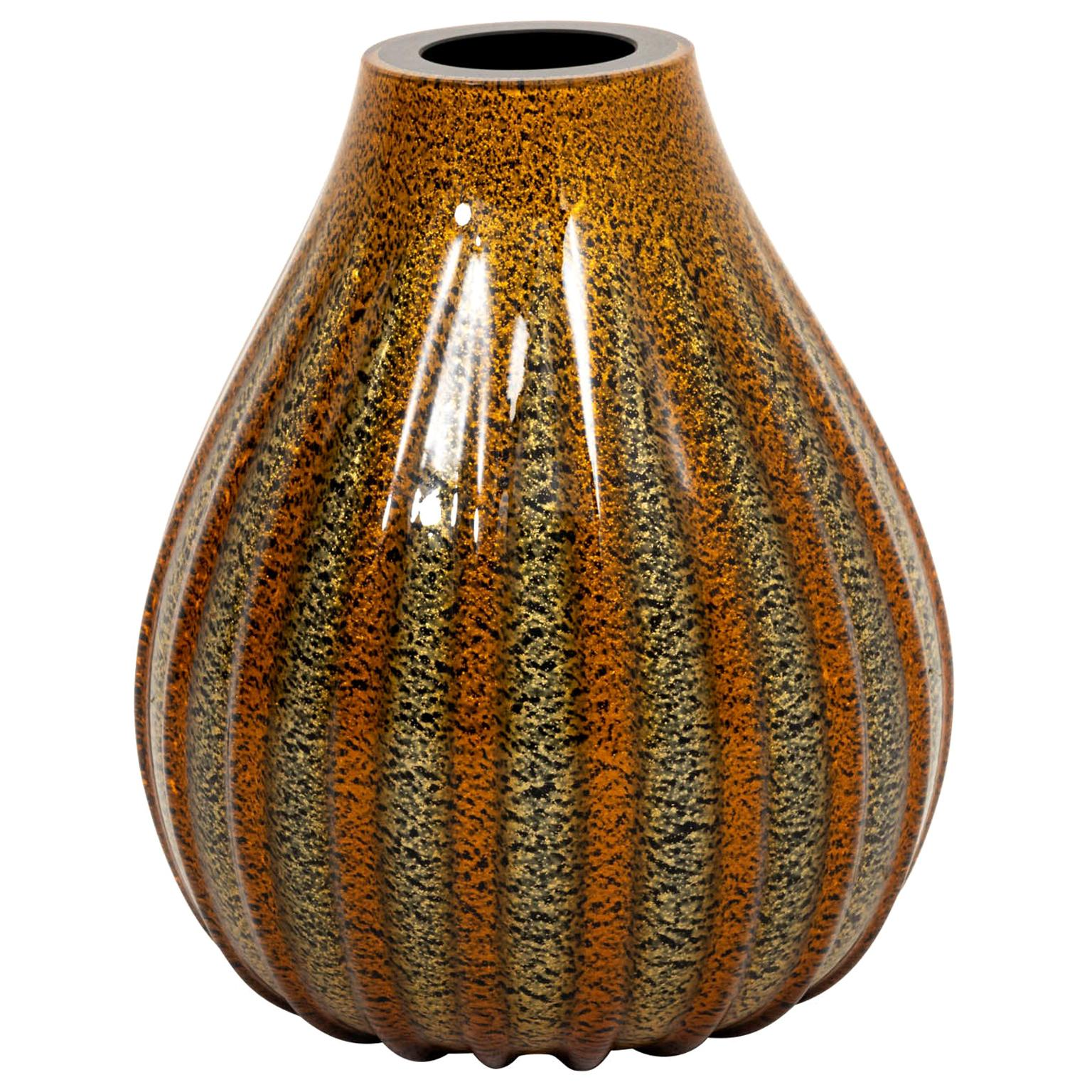 Large Striped Murano Glass Vase
