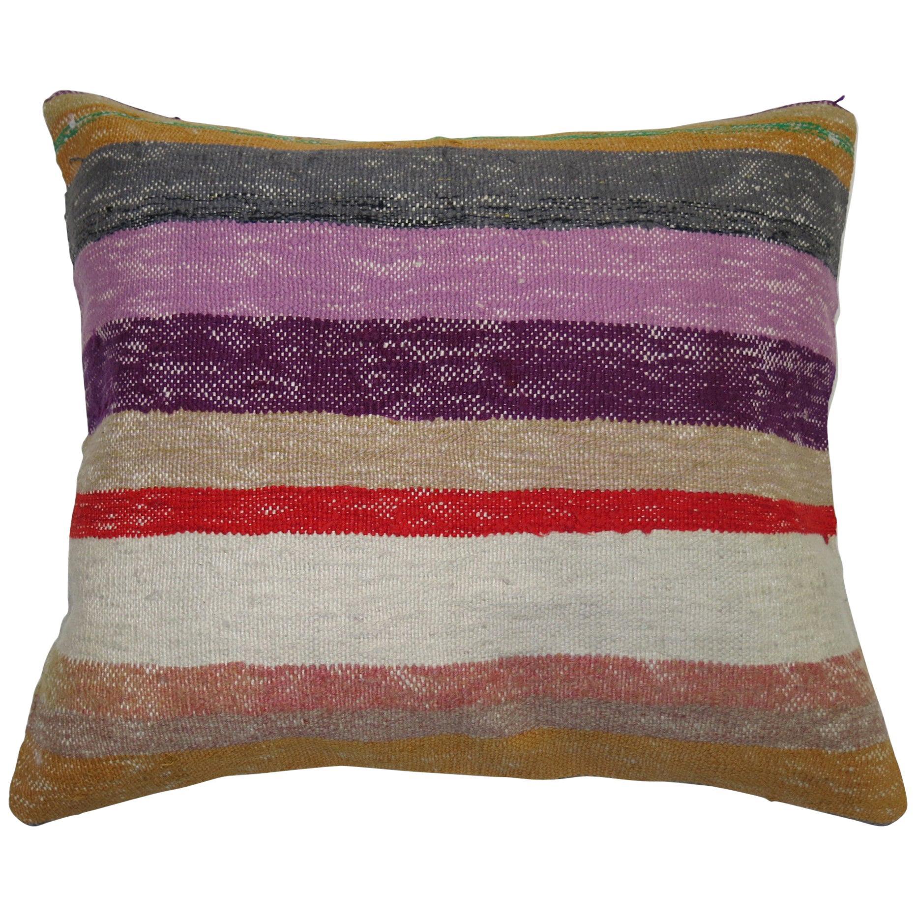 Large Striped Turkish Kilim Pillow