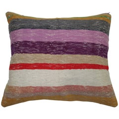 Large Striped Turkish Kilim Pillow
