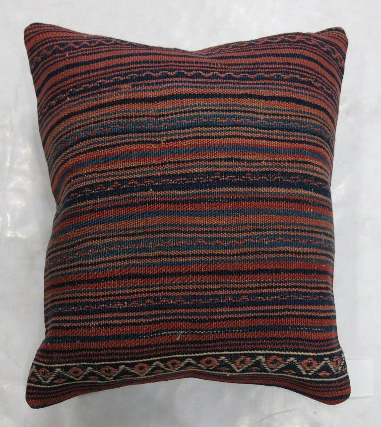 Mid-Century Modern Large Striped Vintage Kilim Pillow For Sale