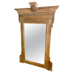 Large Stripped Late Victorian English Carved Oak Mirror, circa 1850