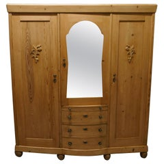 Large Stripped Pine Wardrobe Compactum