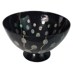 Large Studio Art Lacquerware and Abalone Bowl