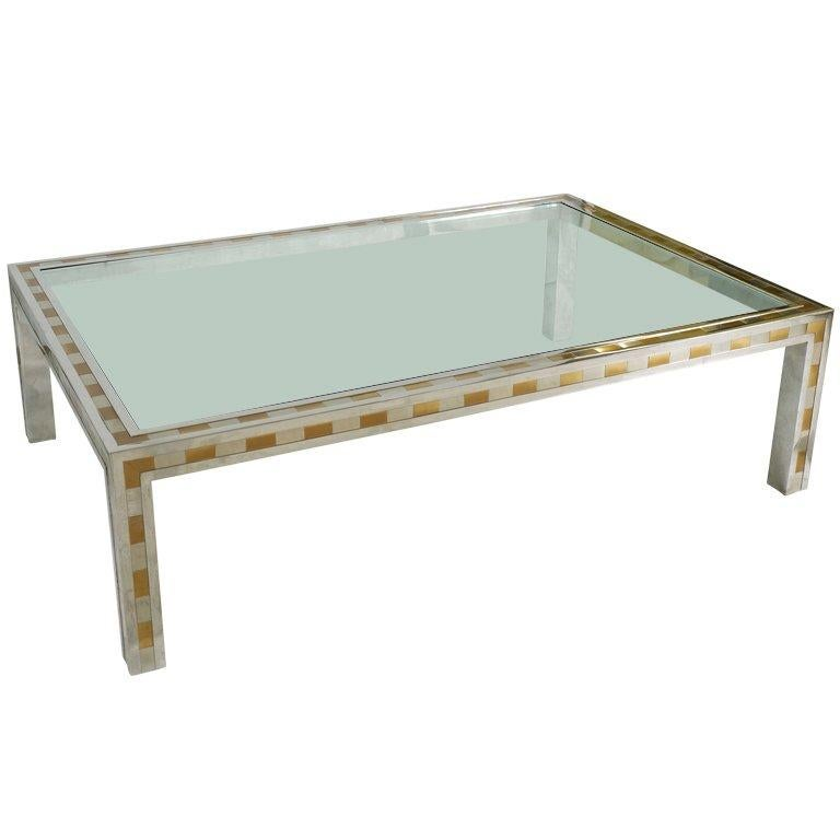 Large Studio Made Cityscape Style Parsons Coffee Table For Sale