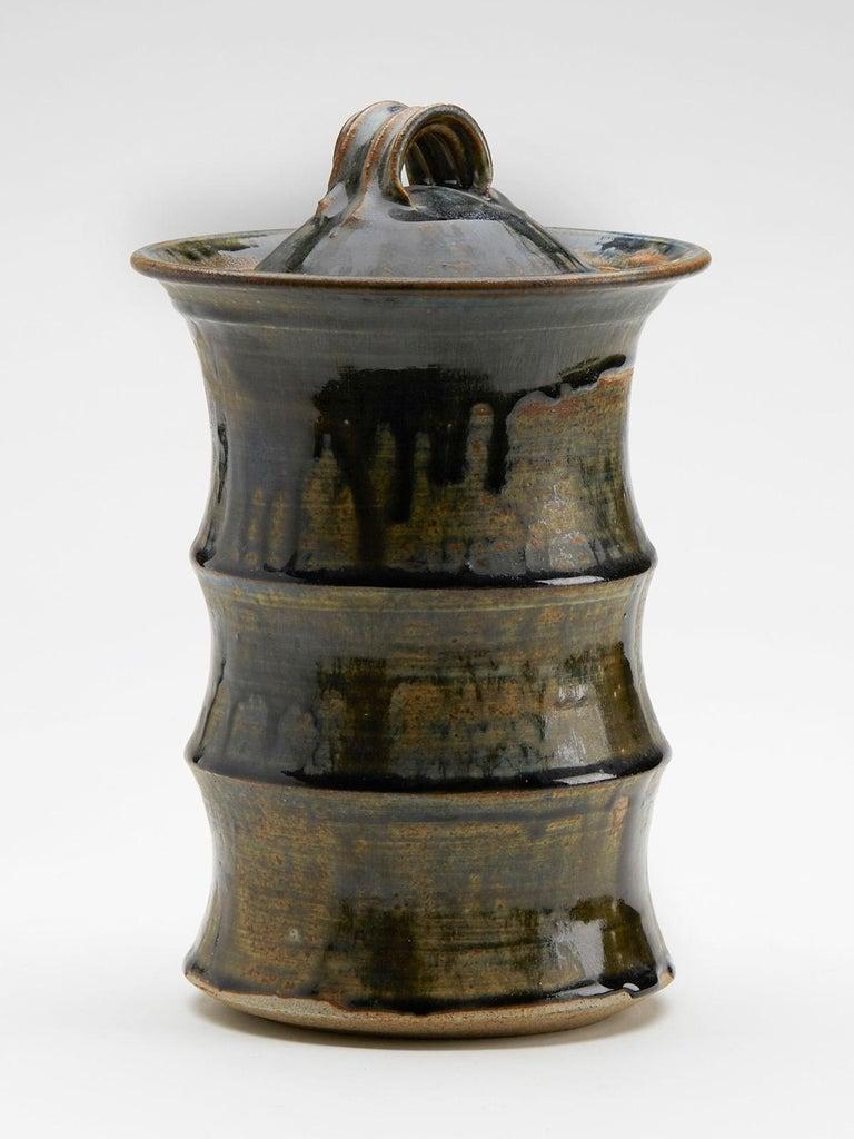Glazed Large Studio Pottery Drip Glaze Lidded Stoneware Jar, 20th Century For Sale