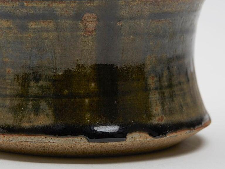 Ceramic Large Studio Pottery Drip Glaze Lidded Stoneware Jar, 20th Century For Sale