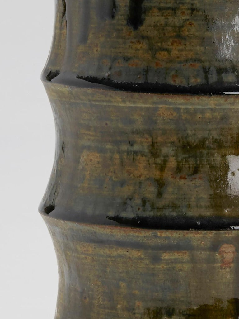 Large Studio Pottery Drip Glaze Lidded Stoneware Jar, 20th Century For Sale 1