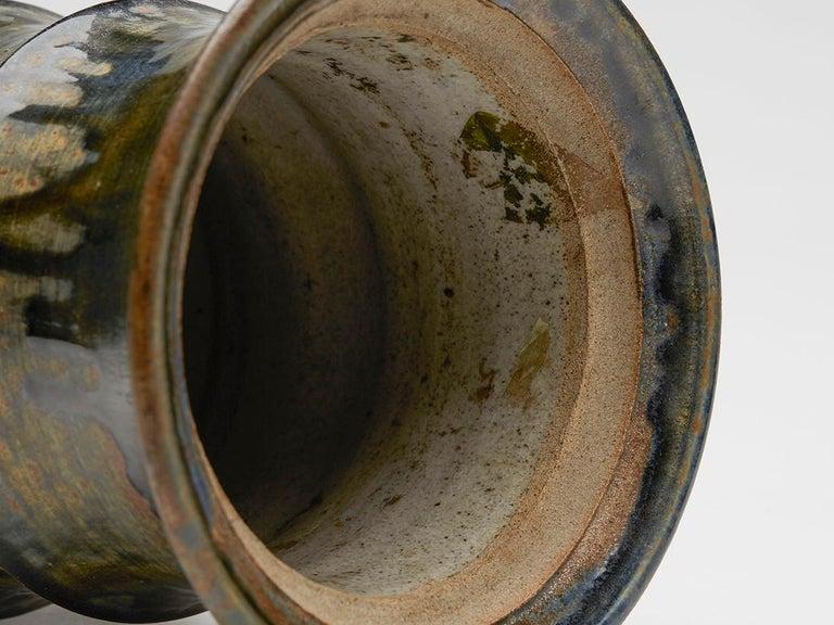 Large Studio Pottery Drip Glaze Lidded Stoneware Jar, 20th Century For Sale 2