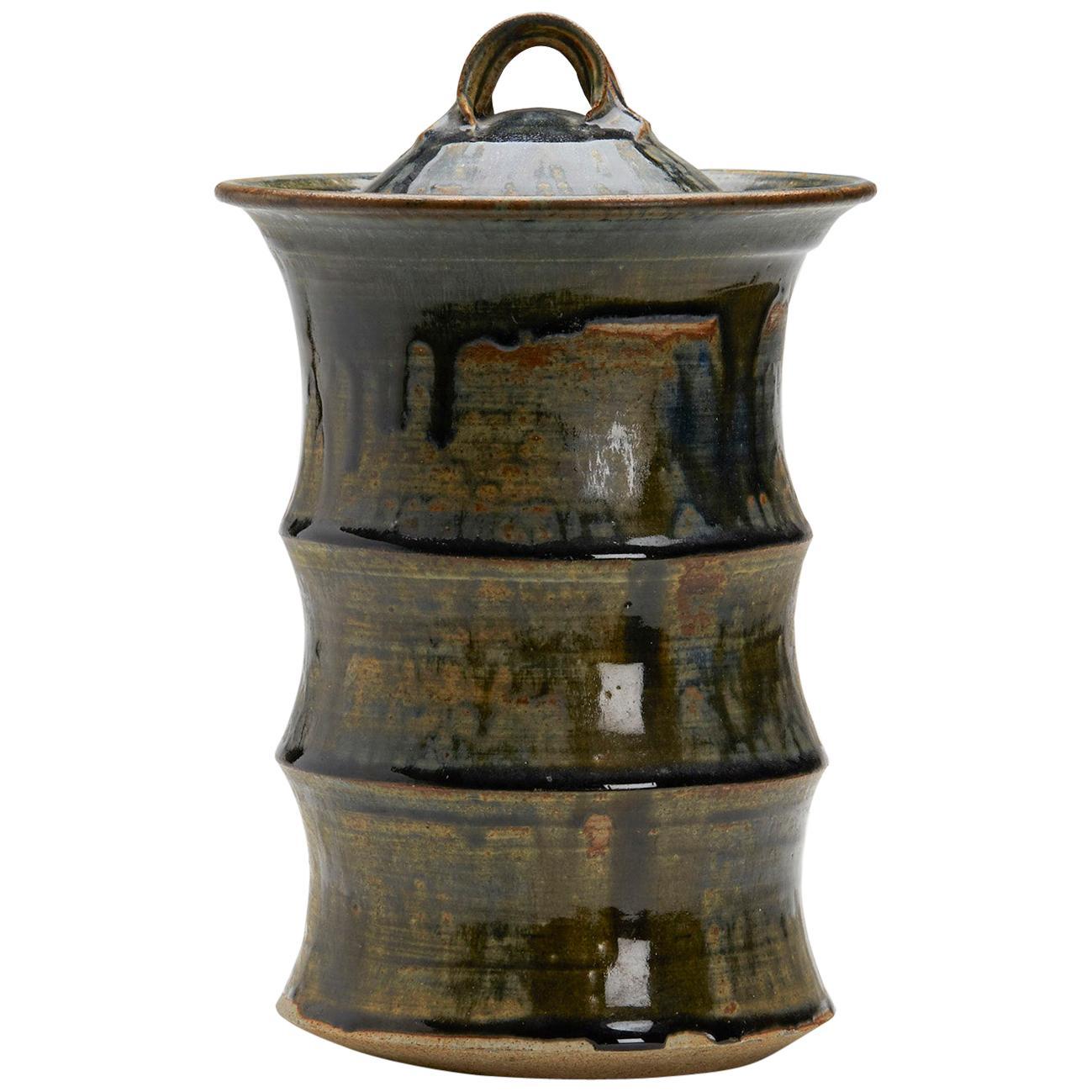 Large Studio Pottery Drip Glaze Lidded Stoneware Jar, 20th Century