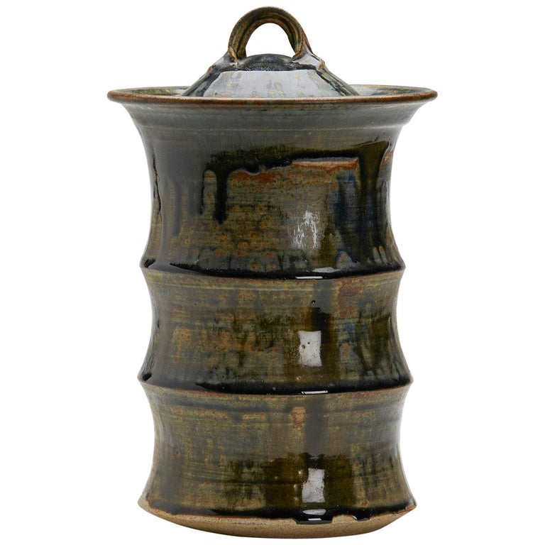 Large Studio Pottery Drip Glaze Lidded Stoneware Jar, 20th Century For Sale