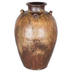Large Studio Pottery Vase with Japanese Glaze