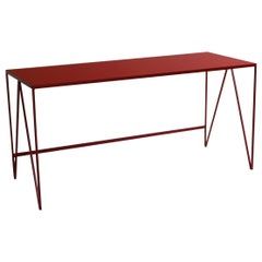 Large Study Desk with Natural Linoleum Top, Customizable Writing Table