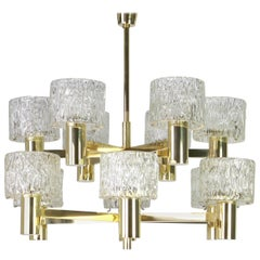 Large Stunning Brass Murano Glass Chandelier by Hillebrand, Germany, 1970s