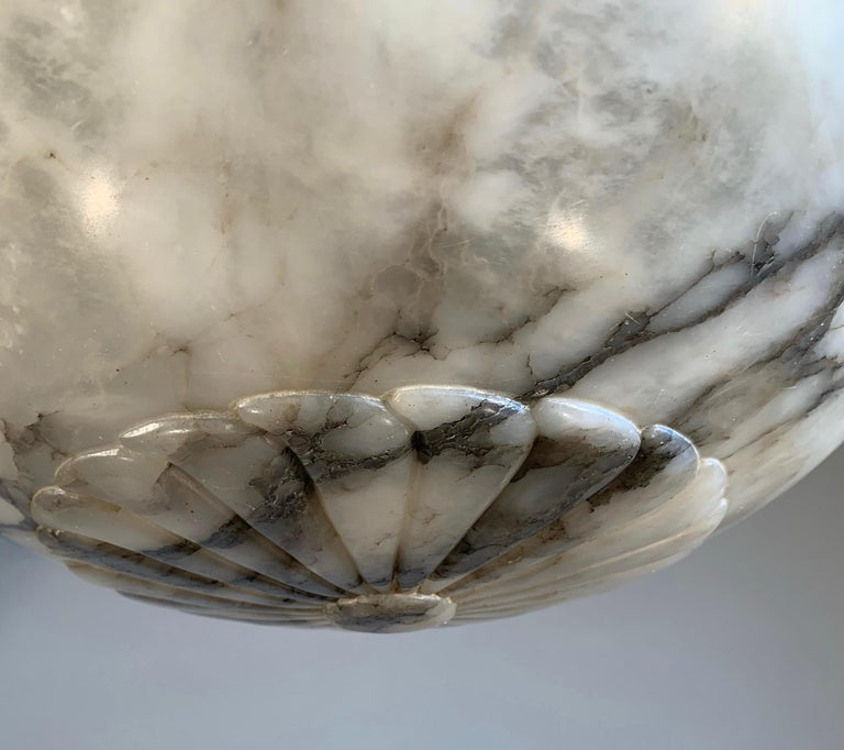 Large & Stunning Design Hand Carved White & Black Alabaster Chandelier / Pendant For Sale 3
