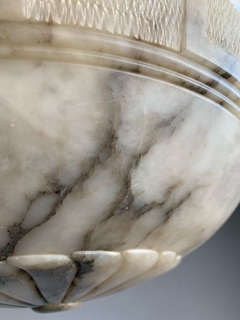 Large & Stunning Design Hand Carved White & Black Alabaster Chandelier / Pendant For Sale 8