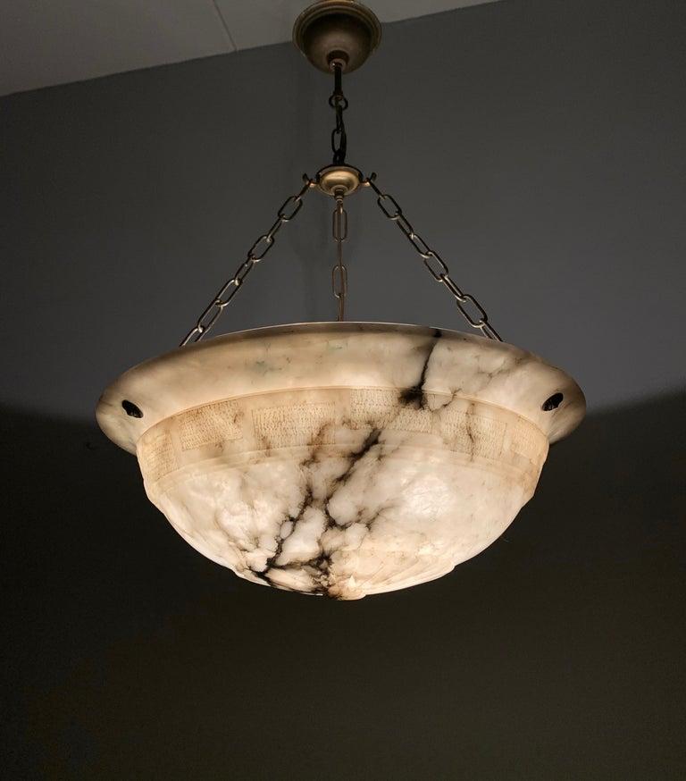 Brass Large & Stunning Design Hand Carved White & Black Alabaster Chandelier / Pendant For Sale
