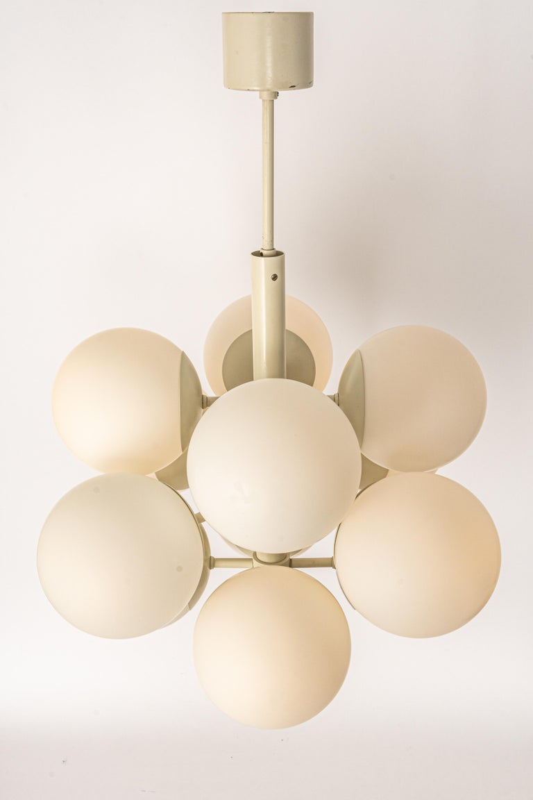 Late 20th Century Large Stunning Kaiser Sputnik Glass Globes Chandelier, Germany, 1970s For Sale