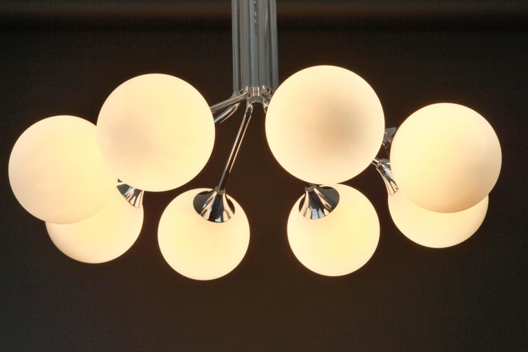Late 20th Century Large Stunning Kaiser Sputnik Opal Glass Globes Chandelier, Germany, 1970s For Sale