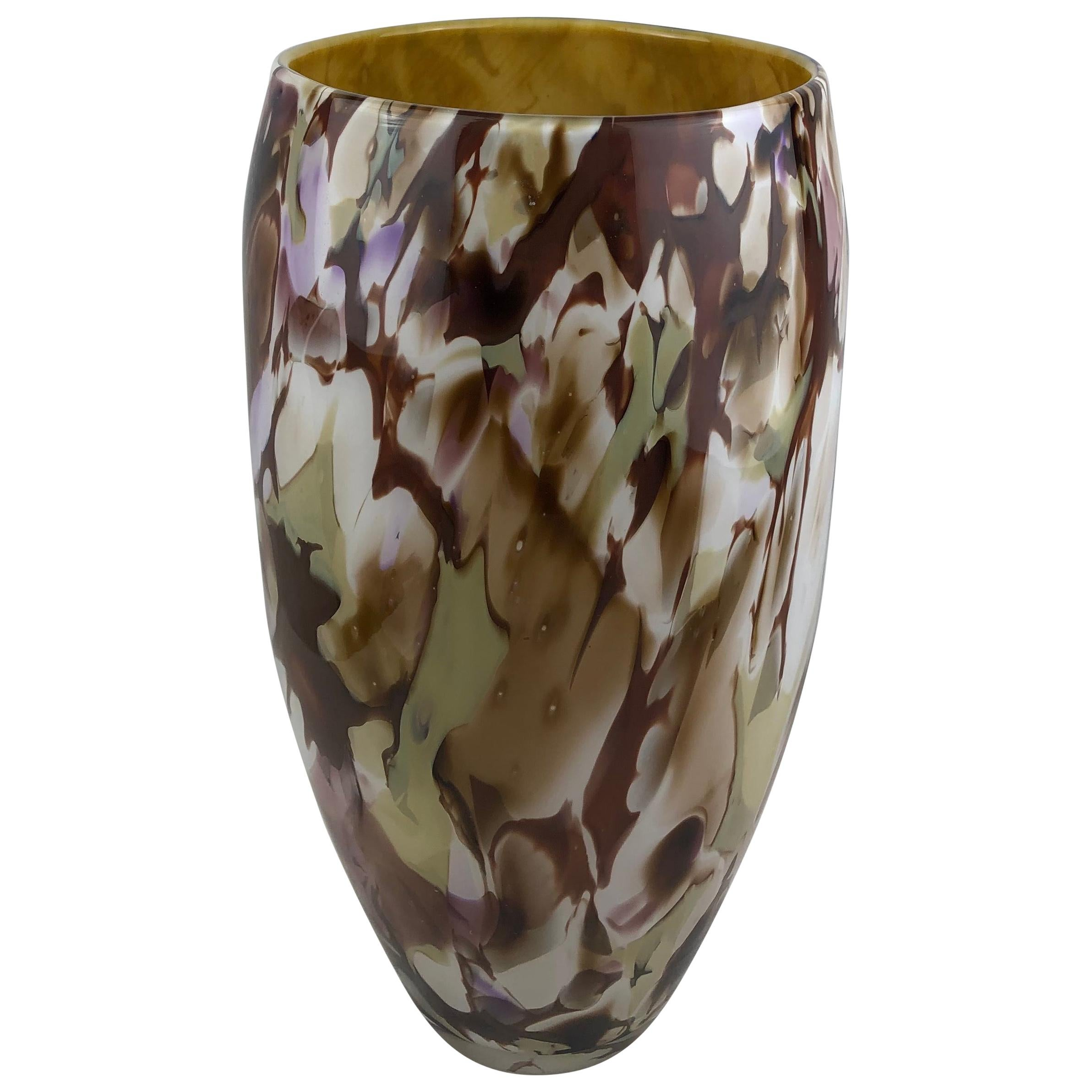 Large Stunning Multi-Colored Hand Blown Murano Art Glass Vase