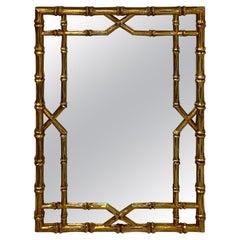 Large Stylish Italian Giltwood Faux Bamboo Mirror