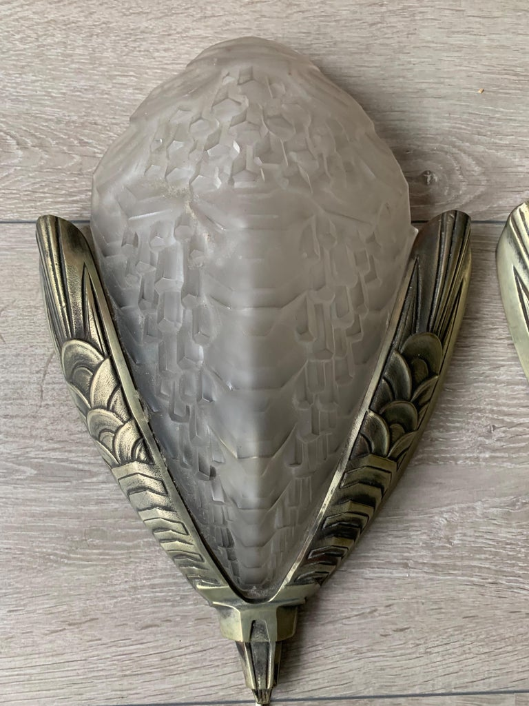 French Large and Stylish Pair of Art Deco Bronze & Glass Wall Sconces / Light Fixtures For Sale