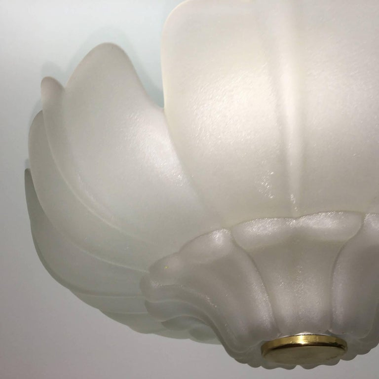 1970s flush mount. Beautiful flower blossom motive. Requires 5 ( five) European E27 Edison bulbs up to 60 watts each. Fantastic and delicate addition to any room. This item will be shipped directly from Europe to buyer.
