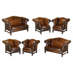 Large Suite of Fully Restored Hand Dyed Brown Leather Seating Sofa & Armchairs