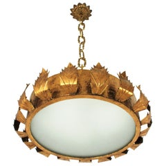 Large Sunburst Crown Chandelier or Flush Mount, Gilt Metal and Bronze