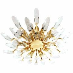 Large Sunburst Gilded Brass Crystal Flush Mount Light,  Stilnovo Gio Ponti Era